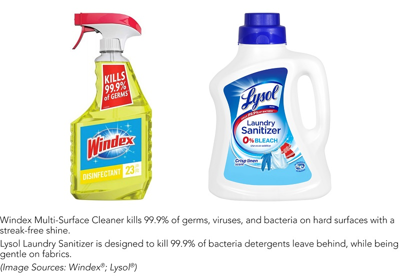 Windex and Lysol cleaner and sanitizer packaging